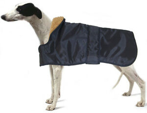 Hound Dog Coat. Blue. Faux Fur Lined. Shaped. Whippets, Greyhounds & Lurchers