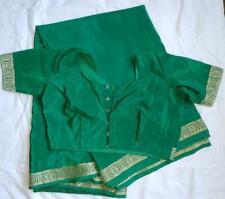 "Green Gold Sari w/ Choli Blouse 38"" Bust M Bollywood Saree Fabric"