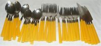 Vintage Stainless Steel Yellow Melamine Plastic Handle 40 Piece Flatware Set