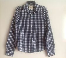 ABERCROMBIE & FITCH Muscle Black Grey Check Shirt Size Large Ex Condition