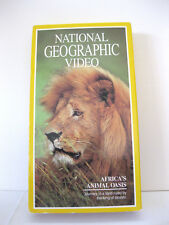 Africa's Animal Oasis National Geographic Video (VHS, 1993) Lion Zebra Elephant
