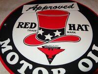 """VINTAGE RED HAT GASOLINE & INDEPENDENT OIL W/ BIRD! 11 3/4"""" PORCELAIN METAL SIGN"""