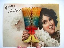 Vintage German Postcard w/ Happy New Year Message w/ Honeycomb Glass    *