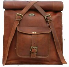 Leather Folding Back Pack Laptop Rucksack Travel Bag Men's New Genuine Goat