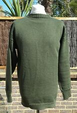 Le Tricoteur Khaki Green 100% Wool Guernsey Jumper  Made in Channel Islands - L