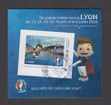 France - Bloc autocollant oblitéré Euro de Football UEFA 2016 - Lyon - TB