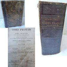 LIVRE 1898 CODES FRANCAIS ET LOIS USUELLES RIVIERE HELIE PONT