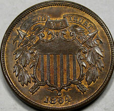 1864 Lg. Motto Two Cent Piece Gem BU++ RB... So FLASHY & Very NICE! Great Coin!!