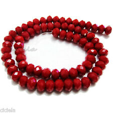 50Pcs Opaque Crystal Jewelry Red Faceted Rondelle Loose Spacer Beads 6 x 8mm