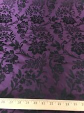 "Purple/Black Floral Brocade Jacquard Iridescent Poly Nylon Taffeta Fabric 58"" W"