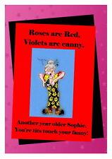 Birthday card Funny Rude 16th 18th 21st 30th 40th 50th 60th 70th 80th Tit Fanny