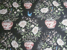 "ZOFFANY CURTAIN FABRIC DESIGN ""Romey's Garden"" 1 METRE EBONY 321440"