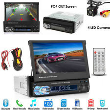 "Single 1Din 7"" Flip Stereo Car Radio Player Touch Screen Bt Usb Tf Aux + Camera"