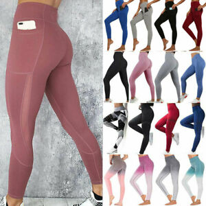 Womens High Waist Gym Leggings Pocket Fitness Sports Running Train Yoga Pants