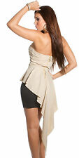 Sexy asymetrical tail dress fish tail long back dress peplum beige black size S