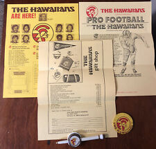 1974 WFL World Football League Lot The Hawaiians Button,Pen,Ticket Appl etc