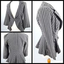 Topshop Size 10 Grey Striped Fitted Flared Jacket Ladies Victoriana Peplum