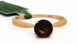 GENUINE 1.14 Cts SMOKY TOPAZ SOLITAIRE RING 10k ROSE GOLD ** Free Certificate **