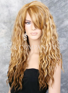 Human Hiar Blend Long HEAT OK Wavy Full Body Wig light brown Blonde mix HSP 2216