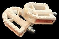 """Unione Bianco 9/16"""" in resina pedali arrotondati ideale per i cicli Donna & 24"""" RUOTE"""