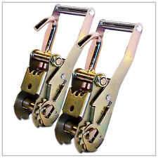 Two (2x) RATCHET HANDLES w/ FINGER HOOKS TOW DOLLY STRAPS