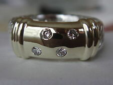 DAVID YURMAN 14/K GOLD , SS WIDE METRO DIAMOND CABLE RING