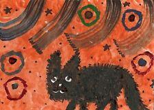 ACEO PRINT OF PAINTING RAY PSYCHOBILLY FREAKCAT BLACK CAT FOLK ART HALLOWEEN