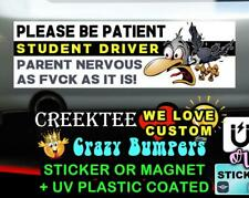 PLEASE  BE PATIENT STUDENT DRIVER 10 x 3 Bumper Sticker or Magnet
