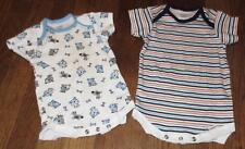 LOT/2 INFANT BABY BOY ONSIES COTTON CREEPERS~1)PUPPY DOGS/STRIPES~SZ 12M MOS~GPC