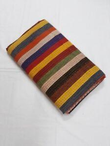 Indian Handmade Throw Kantha Quilt  Bedspread Blanket Cotton Strip Rug