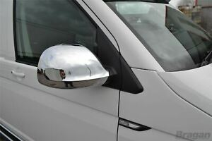 To Fit 15+ Volkswagen T6 Transporter Caravelle ABS Shiny Chrome Mirror Covers