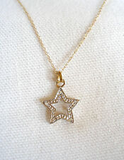 'Star'  10k Two Tone Gold Pendant with Diamond Accents & Necklace