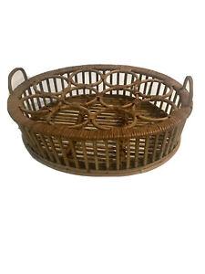 Vintage Wicker Rattan 10 Drink holder Basket Tray Handles