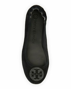 NIB Tory Burch Minnie Suede Pave Medallion Travel Flats Shoes BLACK 8.5 and 8