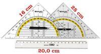 Linealset 3teilig Geodreiecke und 20cm Lineal Lineale Geodreieck 16,0 - 25,0 cm