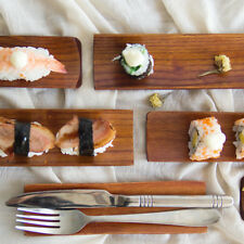 Wooden Sushi Dumplings Serving Tray Oblong Plate Salad Bread Dishes