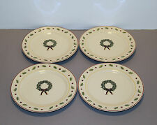 "Four Holiday Home Salad Plates 7 1/2"" - Merry Brite"