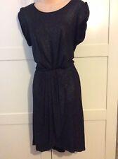 Black Glittery Sparkly Dress Size14/16 Pleat Stretch Faux Wrap Skirt Party Xmas