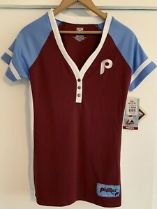 Phillies Women's Baseball Jersey Cooperstown Edition By Majestic Medium