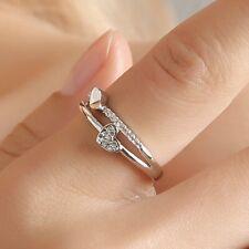 925 Chapado en Plata de Ley Corazón Diamante Pareja Anillos Cristal Compromiso