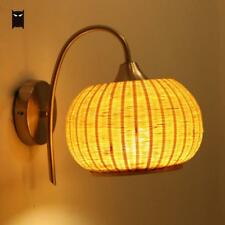 Bamboo Wicker Rattan Fruit Shade Wall Light Fixture Rustic Vintage Sconce Lamp