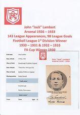 JACK Lambert Arsenale 1926-1933 estremamente rara mano originale firmato TAGLIO / CARD