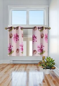 """2 PANELS TROPICAL PRINTED DESIGN WINDOW TIER CURTAIN BLACKOUT FLORAL 36""""LENGTH"""