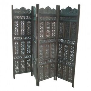MADE TO ORDER Hand Carved Indian 4 Panel Partition Screen Room Divider Black L