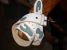 UNISEX White Handmade Leather Belt,Teal Suede Inlays, Silver Spots L 36-38
