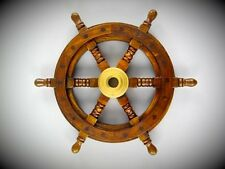 Schiffs Ruder massiv Teakholz Maritimes Messing Geschenk Nautic Vintage