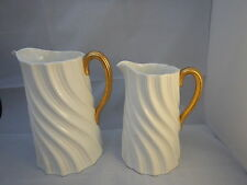 2 x Antique Coalport Swirl large jug gold handles RD 178567