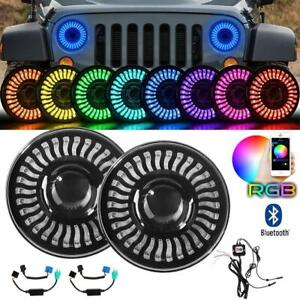 "For Jeep Wrangler JK TJ LJ  RGB 7"" LED Headlights DRL Lights Combo Kit 2PCS"