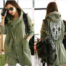 Women Girl Punk Skull Back Military Coat Long Parkas Trench Hooded Jacket