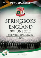SOUTH AFRICA v ENGLAND 9 Jun 2012 - 1st TEST ay DURBAN RUGBY PROGRAMME